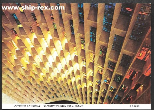 Coventry Cathedral, Baptistry Window - postcard